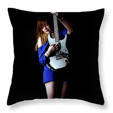 Woman Playing Lead Guitar Throw Pillow