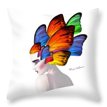 Woman Portrait Butterfly  Throw Pillow by Mark Ashkenazi