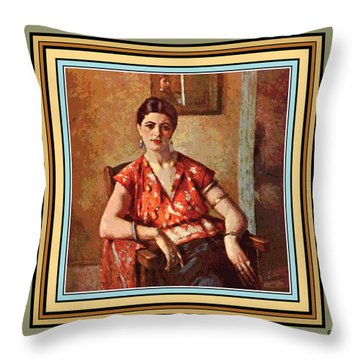 Woman Sitting In Chair Throw Pillow by Gary Grayson