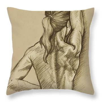 Throw Pillow featuring the drawing Woman Sketch by Rob Corsetti