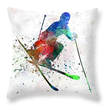 Woman Skier Freestyler Jumping Throw Pillow