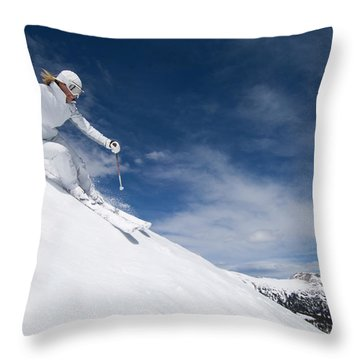 Woman Skiing At Loveland, Colorado Throw Pillow
