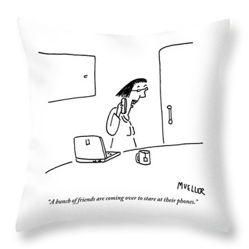 Woman Speaks Into Her Cellphone Throw Pillow