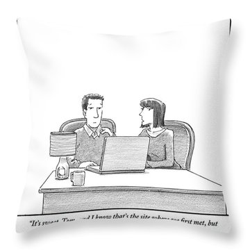 Woman Speaks To Husband As They Sit Behind A Desk Throw Pillow