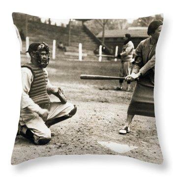 Woman Tennis Star At Bat Throw Pillow