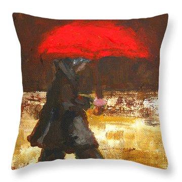 Woman Under A Red Umbrella Throw Pillow by Patricia Awapara