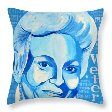 Throw Pillow featuring the painting Woman Veteran Gabe by Michelle Dallocchio