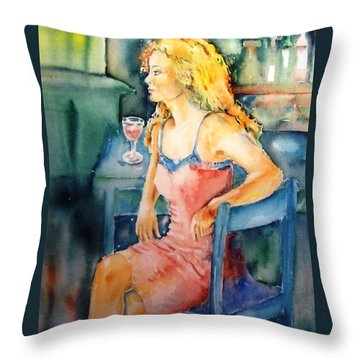 Throw Pillow featuring the painting Woman Waiting  by Trudi Doyle