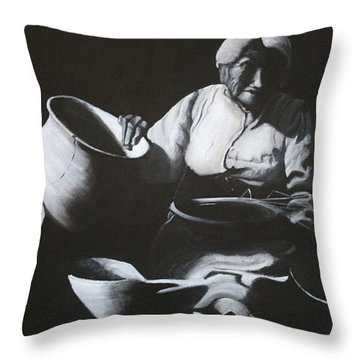 Woman Weaving A Basket Throw Pillow