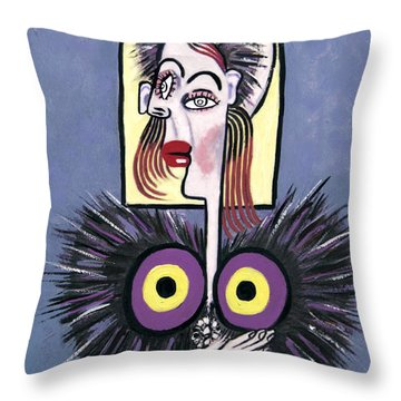 Woman With A Fake Mink Throw Pillow by Anthony Falbo