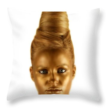 Woman With A Golden Face Throw Pillow by Darren Greenwood