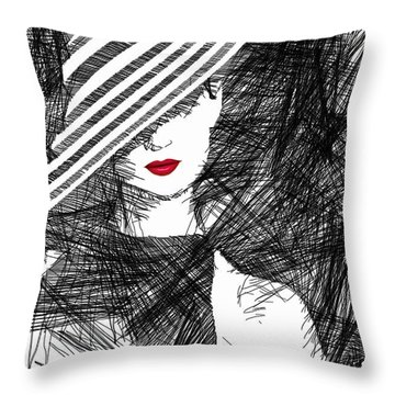 Woman With A Hat Throw Pillow