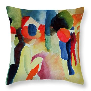 Woman With A Yellow Jacket Throw Pillow