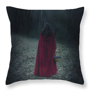 Woman With Basket Throw Pillow