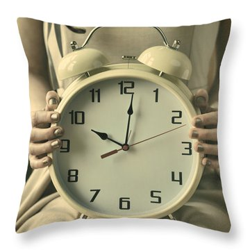 Woman With Clock Throw Pillow