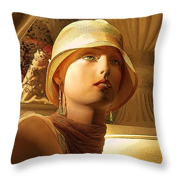 Woman With Hat Throw Pillow