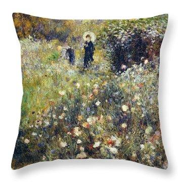 Woman With Umbrella In Garden Throw Pillow by Pierre-Auguste Renoir