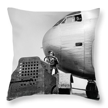 Woman Worker During World War Two Throw Pillow