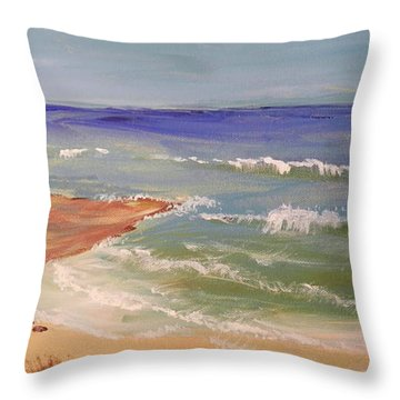 Throw Pillow featuring the painting Wombarra Beach by Pamela  Meredith