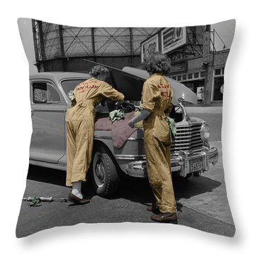 Women Auto Mechanics Throw Pillow by Andrew Fare