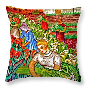 Women Gathering Flowers Throw Pillow