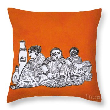 Women Vendors In Market Throw Pillow