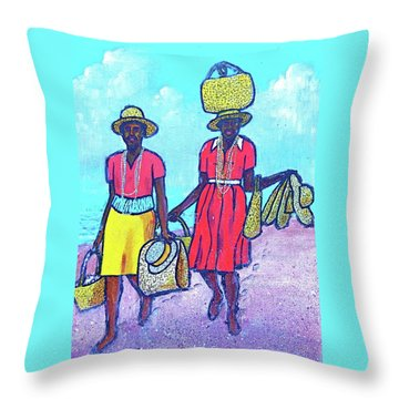Women On Beach At Grenada Throw Pillow by Frank Hunter
