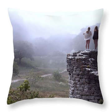 Women Overlooking Bright Foggy Valley Throw Pillow