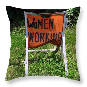 Throw Pillow featuring the photograph Women Working by Ed Weidman