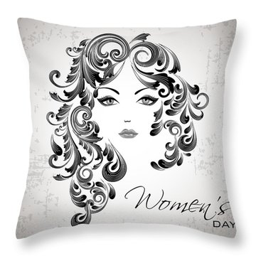 Women's Day Usa Throw Pillow by Stanley Mathis