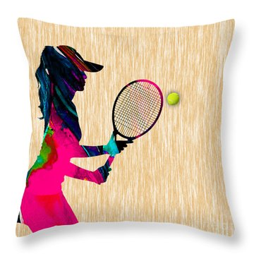Womens Tennis Watercolor Throw Pillow by Marvin Blaine