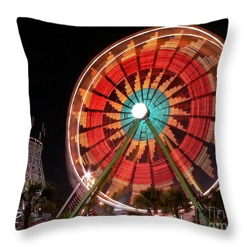 Wonder Wheel - Slow Shutter Throw Pillow by Al Powell Photography USA