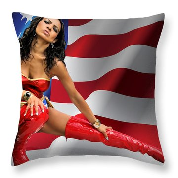 Flag Day With Wonder Warrior Throw Pillow