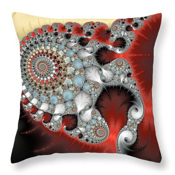 Wonderful Abstract Fractal Spirals Red Grey Yellow And Light Blue Throw Pillow by Matthias Hauser
