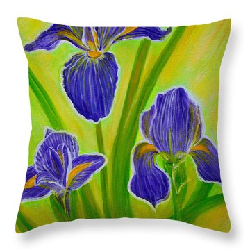 Wonderful Iris Flowers 3 Throw Pillow