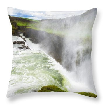 Wonderful Waterfall Gullfoss In South Iceland Throw Pillow