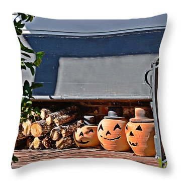 Throw Pillow featuring the photograph Wood And Jack O'lanterns by Linda Brown