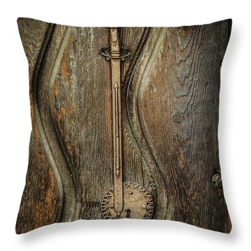 Wood And Metal Mission Door Throw Pillow