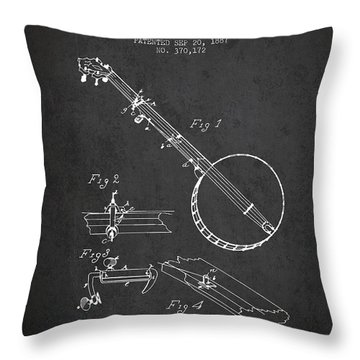Wood Banjo Patent Drawing From 1887 - Dark Throw Pillow