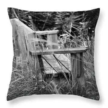 Wood Bench Throw Pillow
