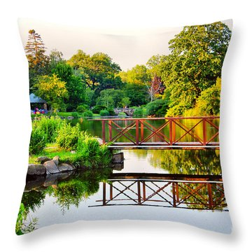 Wood Bridge Reflection Throw Pillow by Judy Palkimas