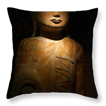 Wood Buddha Statue Throw Pillow