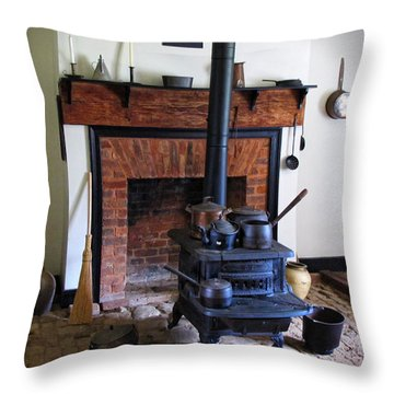Wood Burning Stove Throw Pillow by Dave Mills