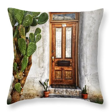 Throw Pillow featuring the photograph Wood Door In Tuscon by Ken Smith
