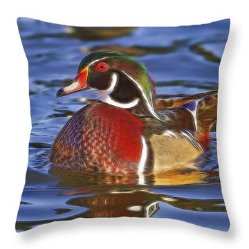 Wood Duck  Throw Pillow by Brian Cross