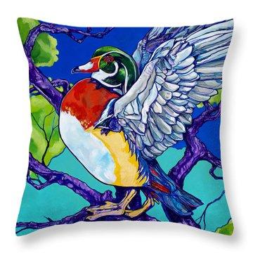 Wood Duck Throw Pillow by Derrick Higgins