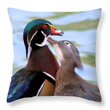 Wood Duck Love Throw Pillow by Bob and Jan Shriner
