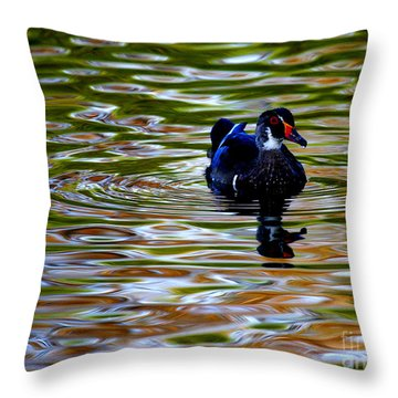 Throw Pillow featuring the photograph Wood Duck Reflections by John F Tsumas