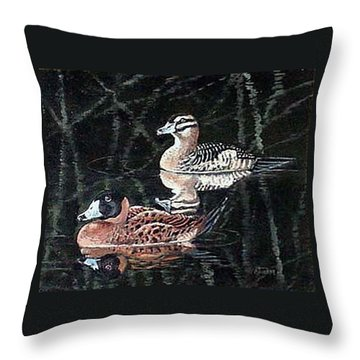 Throw Pillow featuring the painting Wood Ducks Study by Donna Tucker