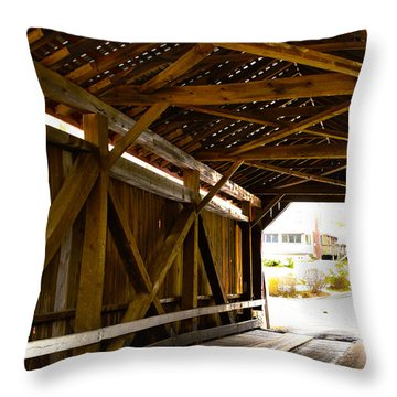 Wood Fame Bridge Throw Pillow